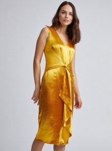Saténové pouzdrové šaty ve zlaté barvě Dorothy Perkins - S