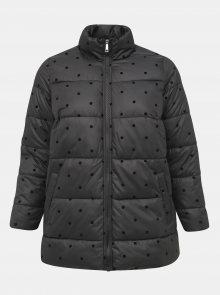 Černá puntíková prošívaná zimní bunda Zizzi Dot - 46-48