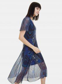 Modré vzorované šaty Desigual Terry - M