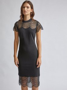 Černé pouzdrové šaty s krajkou Dorothy Perkins - S