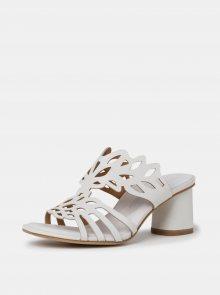 Bílé kožené pantofle na podpatku Tamaris - 38