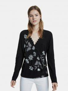 Černý květovaný svetr Desigual - S