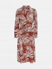 Cihlové vzorované košilové šaty ONLY Augustina