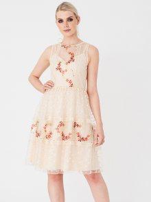 Béžové šaty s výšivkou Little Mistress - M