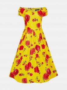 Žluté květované midišaty Dolly & Dotty - M