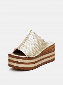 Dámské pantofle ve zlaté barvě na platformě Replay - 37