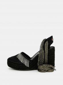 Černé sandálky na klínku Replay - 37