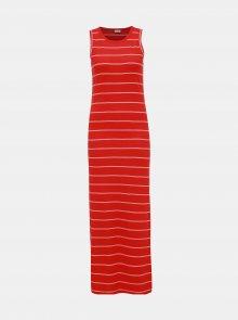 Červené pruhované žebrované basic maxišaty Jacqueline de Yong Nevada - S