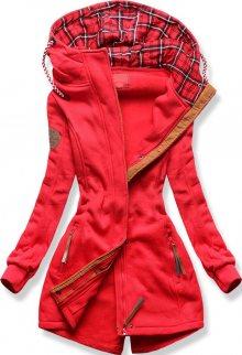 MODOVO Mikina s károvanou kapucí červená