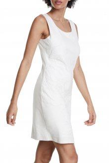 Desigual bílé šaty Vest Houston s krajkou