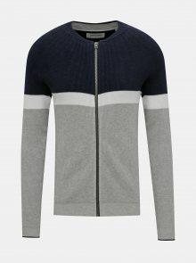 Modro-šedý svetr na zip Jack & Jones Mountain