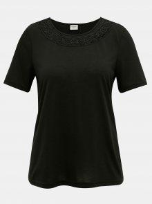 Černé tričko s krajkovým lemem Jacqueline de Yong Finja - XS
