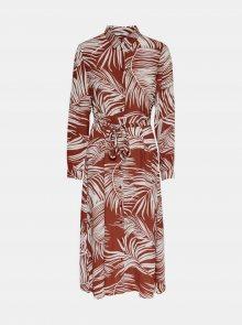 Cihlové vzorované košilové šaty ONLY Augustina - XS