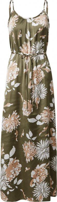 Trendyol Letní šaty olivová / bílá / světle béžová