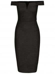 Černé třpytivé pouzdrové šaty s tvarovaným dekoltem AX Paris