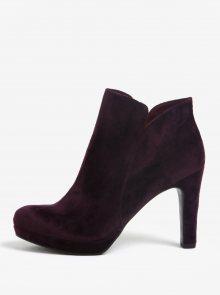 Tmavě fialové sametové kotníkové boty na podpatku Tamaris