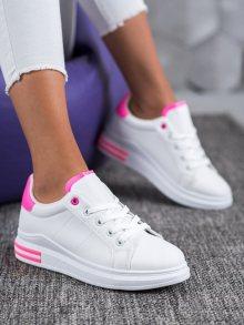Designové dámské  tenisky bílé bez podpatku