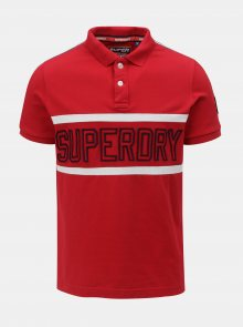 Červené pánské polo tričko s nášivkou na rukávu Superdry - S