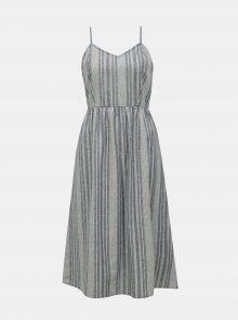 Modré pruhované šaty s příměsí lnu ONLY Vivian - XS