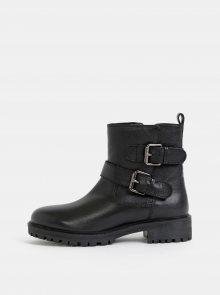 Černé dámské kožené kotníkové boty Geox Hoara - 35