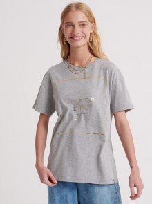 Šedé dámské tričko s potiskem Superdry - S