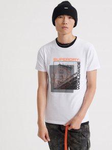 Bílé pánské tričko s potiskem Superdry - S