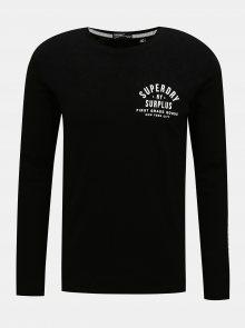 Černé pánské tričko s lampasem Superdry - S