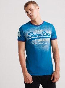 Modré pánské tričko s potiskem Superdry - S