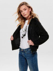 Černá bunda s umělým kožíškem ONLY Anna - S