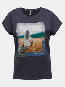 Tmavě modré tričko s potiskem ONLY Maya - XS