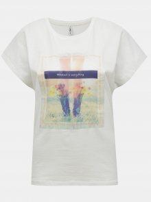 Bílé tričko s potiskem ONLY Maya - XS