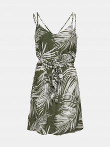 Khaki vzorované šaty ONLY Augustina - XS