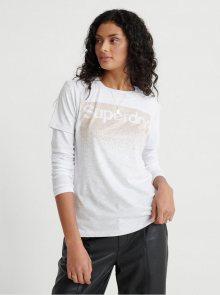 Světle šedé dámské tričko s potiskem Superdry - S