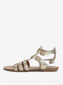 Kožené sandály ve zlaté barvě s metalickým leskem Dorothy Perkins