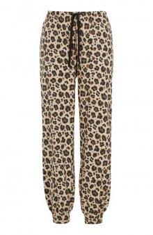 Úpletové kalhoty se zvířecím vzorem / béžová/leopardí