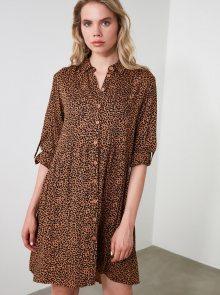 Hnědé košilové šaty s leopardím vzorem Trendyol - XS