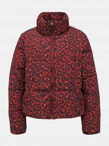 Vínová zimní bunda s leopardím vzorem Jacqueline de Yong Erica - M