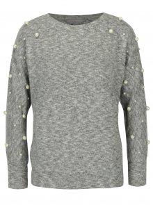 Světle šedý žíhaný svetr s korálky Dorothy Perkins Petite