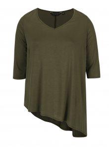 Khaki volné asymetrické tričko Dorothy Perkins Curve