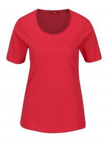 Tmavě růžové dámské tričko s krátkým rukávem s.Oliver