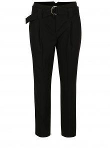 Černé zkrácené kalhoty s páskem Dorothy Perkins