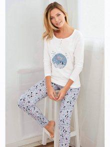 Venca Pyžamo s dlouhými rukávy a kalhotami bílá S