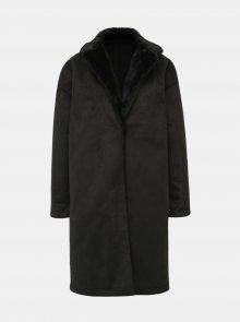 Černý kabát v semišové úpravě Dorothy Perkins - S