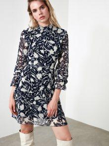 Modré květované šaty Trendyol - XS