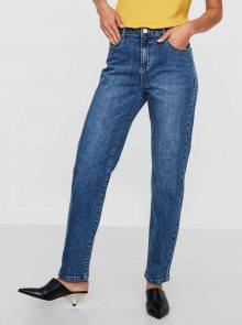 Modré straight džíny s vysokým pasem Noisy May Liv - S
