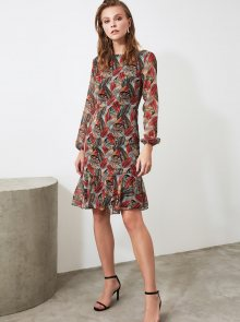 Vínovo-hnědé vzorované šaty Trendyol - XS
