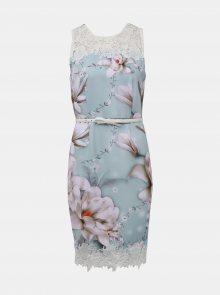 Mentolové květované šaty s páskem Dorothy Perkins - M