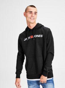 Černá mikina s potiskem a kapucí Jack & Jones Corp