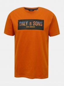 Oranžové tričko s potiskem ONLY & SONS Mono