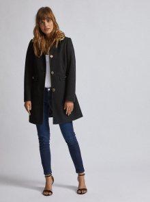 Černý kabát s límcem s hřejivou podšívkou s leopardím vzorem Dorothy Perkins - 46